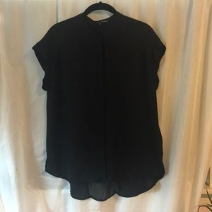 Sheer black blouse w/ henley collar